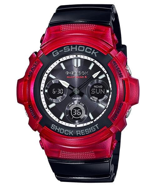 G Shock Zwart Met Rood.Casio G Shock Awg M100srb 4aer Red Black Casio G Shock Awg M100srb