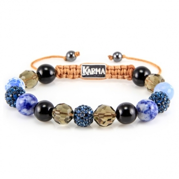 Karma Armband Spiral Blue Velvet 33020