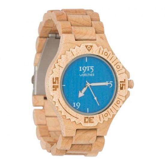 1915 Watches Basic Men Blue Horloge 46 MM Bamboe