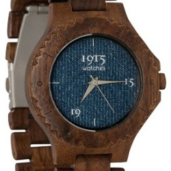 1915 Watches Men Denim Horloge 46 mm Walnoot