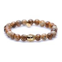 Karma Woodcraft Goldplated silver Buddha 86115G Armband Heren