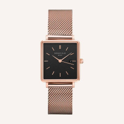 Rosefield The Boxy Black Rosé Gold 33mm