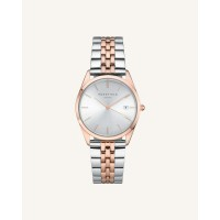 Rosefield The Ace Silver Sunray Silver Rosé Gold 33mm