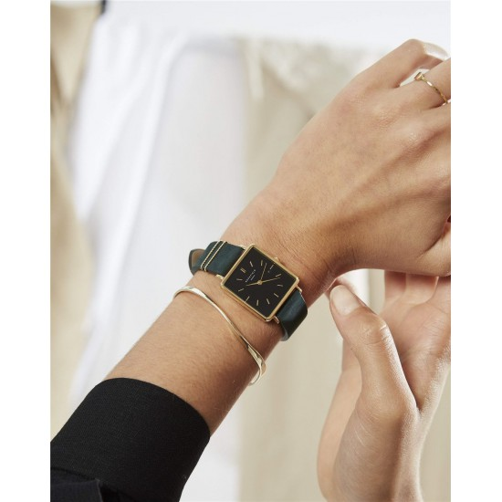Rosefield The Boxy Black Forest Green Gold 33mm