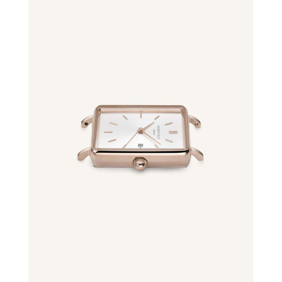 Rosefield The Boxy Grey Rosé Gold 33mm