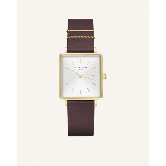 Rosefield The Boxy White Aubergine Gold 33mm