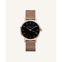 Rosefield The Mercer Black Rosé Gold 38mm