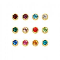 NL Schietknopjes gold plated assortiment kristal